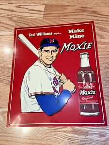 "TED WILLIAMS SAYS MAKE MINE MOXIE Vintage 11x13"" Desperate Metal Sign ORIGINAL"