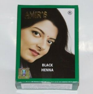 AMIR'S BLACK HAIR COLOUR WITH HENNA, 6 POUCHES, 10 GRAMS EACH, BRAND NEW INDIA.