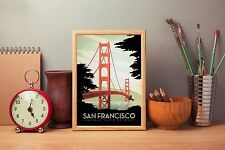 San Francisco A4 Vintage Retro Travel Poster Repro Print Home Wall Art Decor