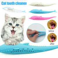 Pet Cat Silicone Molar Stick Fish Toothbrush Interactive Cats Teeth Clean Toys