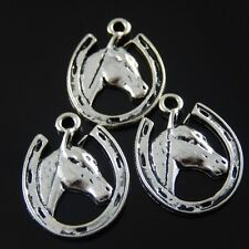 25pcs Antique Silver Tone Alloy Horse Head Charms Pendant Jewelry Findings 38949
