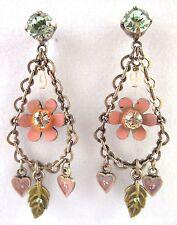 £25 Gold Pearl Peach Pink Flower Heart Drop Earrings Swarovski Elements Crystal