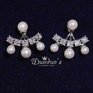 18K White Gold Plated Pearl & Zircon Stud Earrings Front & Back Earrings