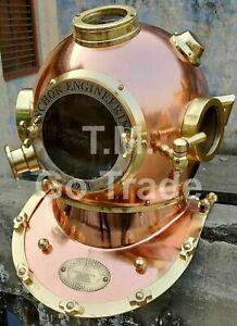 Vintage Copper Brass Diving Helmet ~ Navy Mark V Deep Sea Marine Divers Scuba
