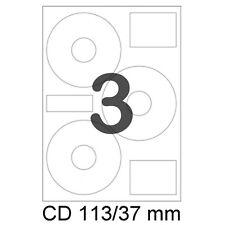 300 CD/DVD Etiketten 113/37 mm Label Aufkleber Ringetiketten Rund 3on1 LW2049 A4
