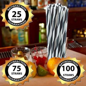 Paper Straws Black White Wedding Paper Drinking Straws Birthday Striped Straws