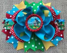"""Mickey Mouse Clubhouse Red Turquoise Yellow Green Bottle Cap Hair Bow 5"""""""