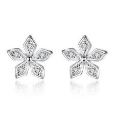 Fashion Jewellery 925 Sterling Silver Plum Flower Crystal Stud Earrings Gifts