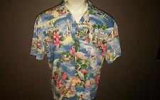 Paradise Found Hawaiian Shirt Florida Themed Space Shuttle Manatee South Beach L