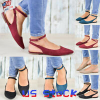 Fashion Women Buckle Strap Pointed Toe Flats Sandals Party Casual Dress Shoes US
