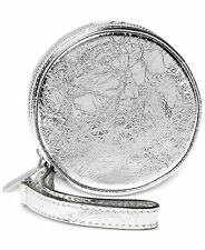 Michael Kors Travel Crinkled Leather Coin Purse Pouch Wristlet Silver Nwt $98