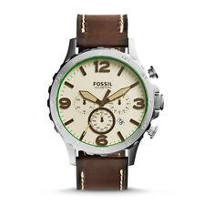 Fossil JR1496 Nate Chronograph Quartz Brown Leather Watch