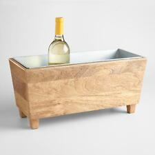 Tabletop Wine Chiller Cooler, Rustic Wood Trough w/Removable Metal Insert