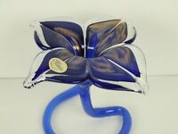 Murano Italy Royal Blue & Copper Swirl Art Glass Standing Flower Bud Vase