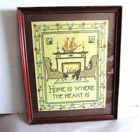 "Embroidered VTG Cross-Stitch Sampler Framed HOME WHERE HEART IS 15x18.5"" FREE SH"