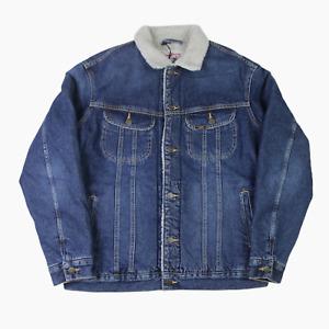Lee Jeans Storm Rider Sherpa Lined Blue Denim Jacket Mens M Medium BNWT New