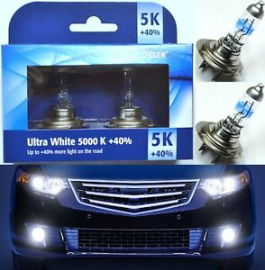 Flosser 40% White 5000K H7 55W Two Bulbs Head Light Low Beam Replace Upgrade OE