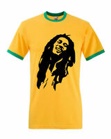 Bob Marley Mens Ringer T-Shirt, Reggae Jamaica Wailers Jamaican Gifts Adults Top