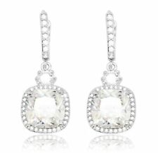 Cubic Zirconia White Gold Plated Drop/Dangle Costume Earrings