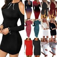 Womens Bodycon Slim Mini Short Dress Casual Long Sleeve Pencil Dresses Clubwear