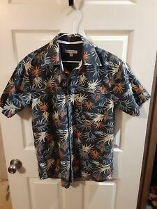 Oleg Cassini Vintage Mens  Shirt S Linen Cotton Blend Palm Leaf Blue