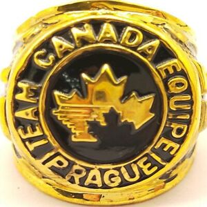 USA Team Canada Equipe Prague 1985 Golden World Juniors Championship Ring