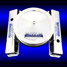 Chrome Short Valve Covers and Air Cleaner for 350 Chevy Engines Blue 350 Emblems