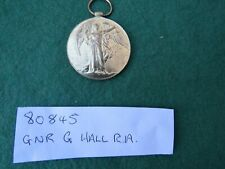 WW 1 1914 - 1919 VICTORY MEDAL TO 80845 GUNNER G HALL ROYAL ARTILLERY