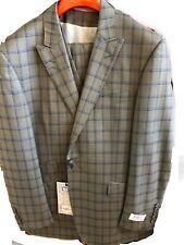Tiglio Rosso Grey W/ Blue Windowpane 3pc Italian Wool Suit 42 Reg Msrp $499