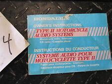 Honda Hondaline Type 2 Audio Radio CB Intercom Owners Manual / Instructions