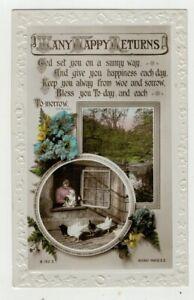 vintage Greetings Postcard Many Happy Returns