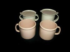 Tupperware White/Ivory Rose Tabletop Cream & Sugar Set and 2 Dinnerware Mugs