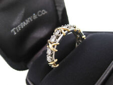 TIFFANY & CO. JEAN SCHLUMBERGER 18 STONE DIAMOND RING 18K GOLD SIZE 9 RARE