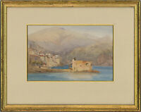 Early 20th Century Watercolour - Coastal Scene with Village
