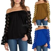 Women Loose Casual Long Sleeve Off Shoulder Shirt Ladies Tops Blouse Plus LEBB