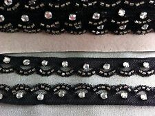 2M BLACK LACE WITH BEADS AND ACRYLIC DIAMANTE 20MM
