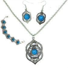 Necklace Earrings Bracelet Silver Turquoise Jewelry Set African Beads For Women