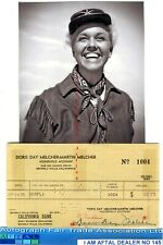 Doris Day vintage signed Bank Cheque / Check AFTAL#145