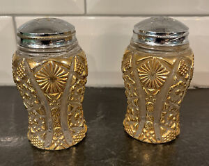 Imperial Gold Decorated Glass Salt and Pepper Shakers