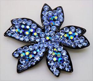 SIMPLY UNIQUE LEAVES SHAPE BLUE / SAPPHIRE AB FASHION BROOCH /PIN  #3