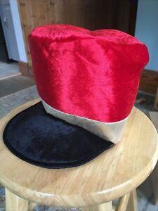 Toy Soldier Costume Hat Red Black Velvet Gold Band Adjustable Elastic Chin Strap
