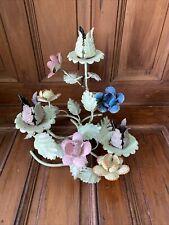 Vintage Italian Toleware Floral Metal Flowers 3 Candle Holder Candelabra Italy