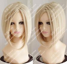 Women Short Platinum Blonde Center Part Bangs Straight Bob Cosplay Hair Full Wig