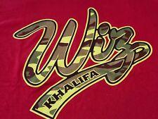 Wiz Khalifa Camo T Shirt Tee Red with Green Camo Lettering Preshrunk Cotton L