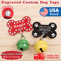 Rhinestone Pet ID Tag Double Sided Engraved Personalized Dog Cat Tags Name