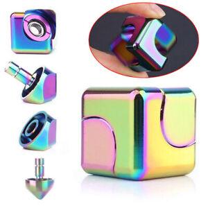 Square Cube Hand Spinner Fidget Aluminum EDC Tri Toy Bearing ADHD Autism