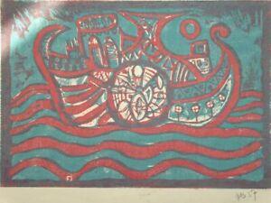 Schiff zu See - Ne - signierter Farb-Holzschnitt - Boot Meer Seefahrt - 1957