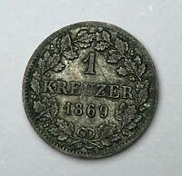 Dated : 1869 - Silver Coin - German states - 1 Kreuzer - Bavaria - Ludwig II