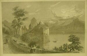Schloss Chillon/Radierung/Rahmen/Bilderrahmen/verglast/1126