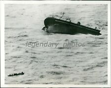 1940 World War II Neutral Ship Goes Down Original News Service Photo